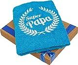 Abc Casa Handtuch zum Geburtstag für Vater oder Vatertag, mit gesticktem Kranz und Super Papa, ein cooles Geburtstagsgeschenk