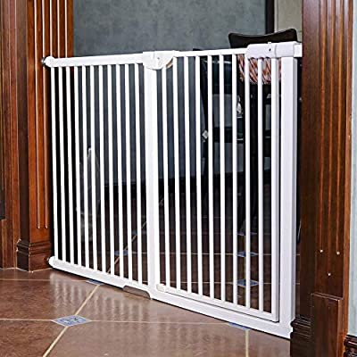 Extra Wide and Tall Baby Gates for Stairs Doorways, Pressure Mount Metal Pet Gate with Cat/dog Door,120cm Heigh,71-159cm Wide (Size : Width 153-159cm)