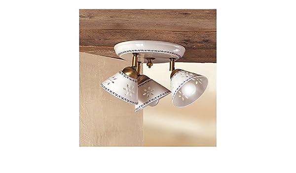 Plafoniere Rustiche Soffitto : Plafoniera lampada da soffitto a tre luci traforata e decorata