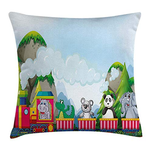 Kids Throw Pillow Cushion Cover, Various Animals Riding on Train in The Park with Mountains Cartoon Style Illustration, Decorative Square Accent Pillow Case, 18 X 18 Inches, Multicolor