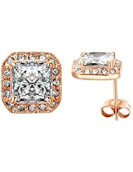 Yoursfs pendientes de boda aretes cuadraro Sparkle princesa Cubic cristal aretes de plata cuadrados solitario con chapado en oro blanco para las mujeres novias bonitas
