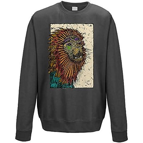 Felpa girocollo uomo Abstract African Lion Grey XL