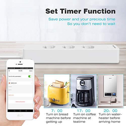 Enchufe Wifi MLITER,  Enchufe Múltiple Inteligente 3 tomas 2 USB,  Control Remoto y de Voz,  Ahorro de Energía,  Temporizador,  Compatible con IFTTT,  Alexa Echo y Google Home,  Blanco
