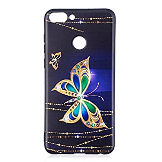 Huawei P Smart Case, Asnlove 3D Relief Prints TPU Gel Cover, Premium Shockproof Back Skin Shell with [Anti-Slip] [Ultra-Thin] for Huawei P Smart Smartphone, Gold Butterfly