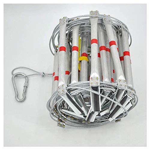 FIREDUXYL Notleiter, Tragbarer faltender Aluminiumlegierungsstahl-Draht-weiche Leitern, Arbeiten in der Höhe, Engineering Construction,20m