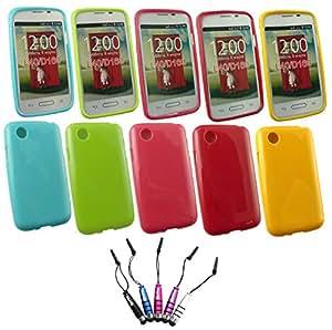 Emartbuy® LG L40 Bundle Pack Von 5 Metallic Mini Eingabestift + Packung 5 Glänzend Glanz Gel Hülle Schutzhülle Case Cover Hot Rosa, Rot, Blau, Gelb, Grün