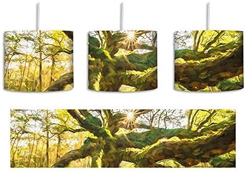 gigantisch verwzeigter Baum Kunst Pinsel Effekt inkl. Lampenfassung E27, Lampe mit Motivdruck, tolle Deckenlampe, Hängelampe, Pendelleuchte - Durchmesser 30cm - Dekoration mit Licht ideal für Wohnzimmer, Kinderzimmer, Schlafzimmer