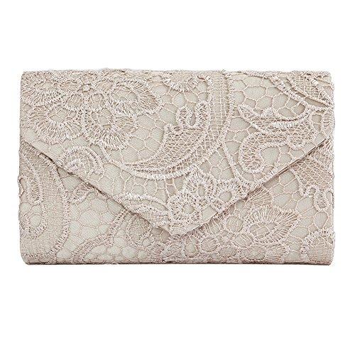 Clasichic Damen Elegant Clutch Abendtasche Envelope Tasche Spitze Handtasche (Champagner) (Spitzen-tasche)