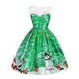 Marlene_Weihnachten Kleid Damen Weihnachten Spitzen-Schneemann-Druck-Sleeveless hohe Taille Kleid Weihnachtskleid (-30%)