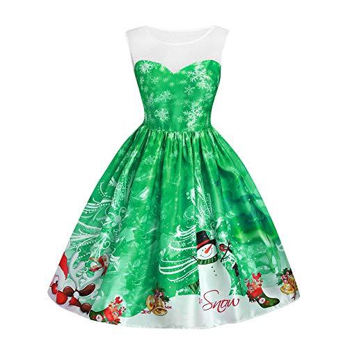 Weihnachten Kleid Frauen Christmas Vintage Weihnachten Printed A-Linie lose Swing Kleid Lange Sleeve...