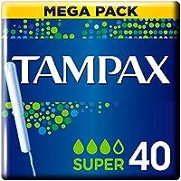 Tampax Super Tampones con Aplicador de Cartón, Protección Antifugas, Siéntate Limpia, 40 Unidades