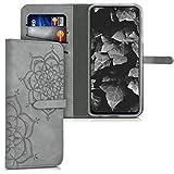 kwmobile Samsung Galaxy A40 Hülle - Kunstleder Wallet Case für Samsung Galaxy A40 mit Kartenfächern & Stand - Blumen Zwillinge Design Grau