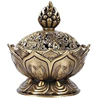 Quemador de incienso de cerámica china y decoración de porcelana Carbón de incienso titular, bronce / rojo de bronce ( Color : Bronze )