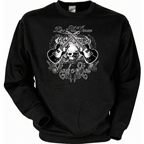 Gitarre Skull Totenkopf Musiker Rock n Roll Sweatshirt Gr XXL in schwarz