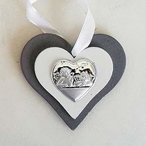 Bomboniere (2 bomboniere) Icona cuore in legno con Angeli