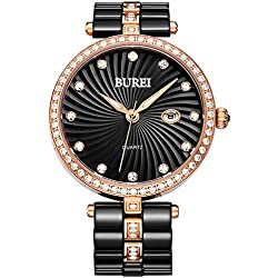 BUREI Women Black Casual Ceramic Wrist Watch with Crystal Watch Case and Date Calendar for Fashion Dress