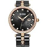 Geschenke für Freundin BUREI Damen armbanduhr von mit Keramikarmband und Kristallgehäuse Datum- und Kalenderfunktion für Mode Kleider