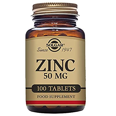 Solgar Zinc Tablets, 50 mg, Pack of 100 from Solgar