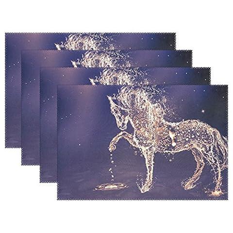 Wasser Pferd Drops Print Platzsets, coosun hitzebeständig Platzsets schmutzabweisend Anti-Rutsch waschbar Polyester Tisch Matten, rutschhemmend, einfach zu reinigen Platzsets, 30,5x 45,7cm Set von 6, Polyester, mehrfarbig, 12x18x1 in