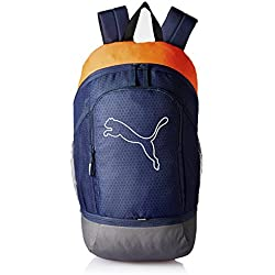 Puma Polyester 17 Ltrs Peacoat and Vibrant Orange Laptop Bag (7439604)