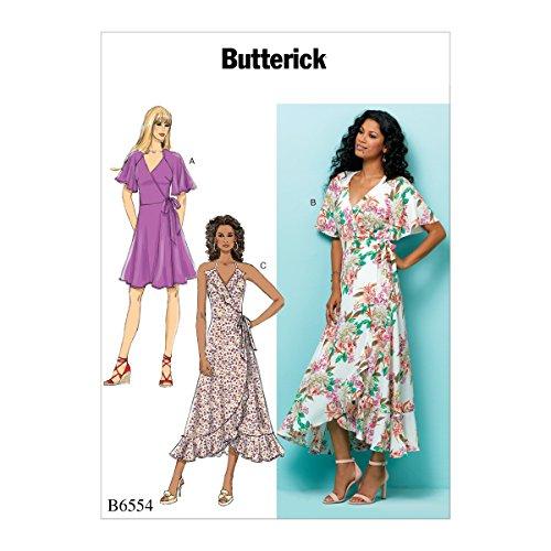 Gedruckt Wrap Kleid (Butterick Patterns 6554E5Größe 14-22Misses 'Wrap kleider, Tissue, mehrfarbig, 17x 0,5x 22cm)