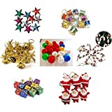 IMTION® Combo ( Christmas Decoration 80 pcs Set + Free Cartoon Striker kids use )Small/Mini Christmas Tree Decorations Set (Balls, Bells, Gifts, Drums, Stars, Candy Sticks & Santa Claus and others ) (( Christmas decoration 80 pcs ))