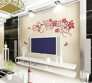 """Wall Sticker, DDLBiz® Adesivi Murales, Carta da Pareti """"farfalla fiore rosso"""" Decorazione Murali da Parete"""