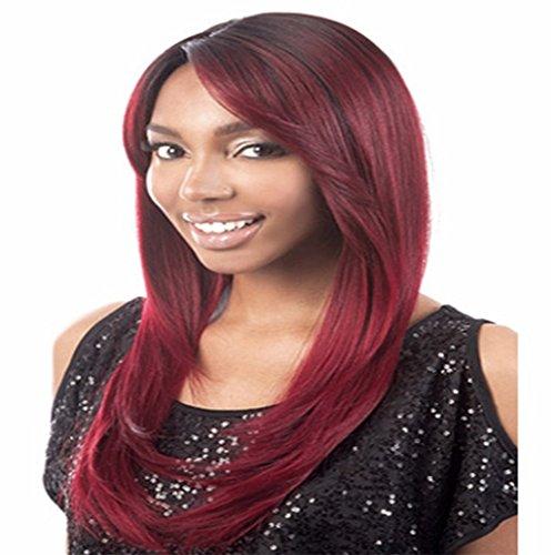 Longlove medio lungo vino rosso Charming capelli lisci ondulati parrucca