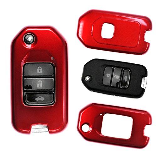 Klapp Schlüssel Hülle Hartschale Cover Rot für Honda Civic Jazz CR-V HR-V NSX