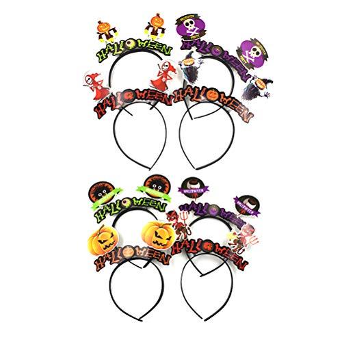Amosfun Halloween Haarband Cosplay Haarband Kürbis Fledermaus Axt für Halloween Party (Mixed Style) 8St