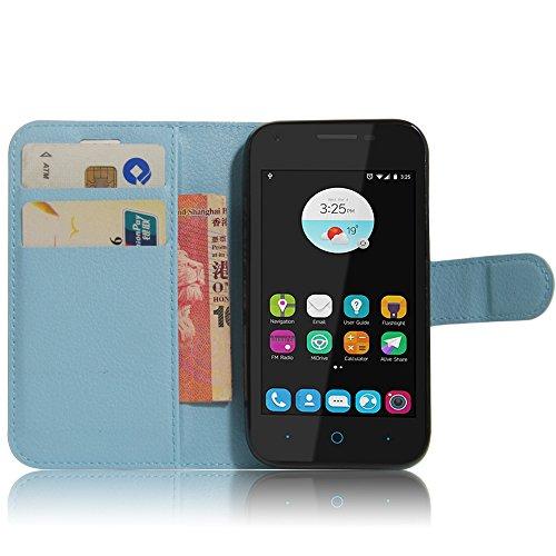 SMTR ZTE blade L110 Wallet Tasche Hülle - Ledertasche im Bookstyle in Blau - [Ultra Slim][Card Slot][Handyhülle] Flip Wallet Case Etui für ZTE blade L110