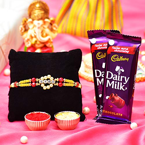 Archies®Artificial Silver Stones Rakhi with White Pearl with 2 Pack Dairymilk Chocolates and Roli Chawal for Rakshabandhan, for Auspicious Festival,...