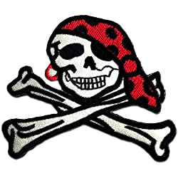 Cráneo Pirate Patch '8.5 x 7.4 cm' - Parche Parches Termoadhesivos Parche Bordado Parches Bordados Parches Para La Ropa Parches La Ropa Termoadhesivo Apliques Iron on Patch Iron-On Apliques