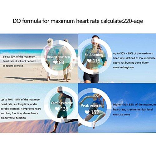 KOBWA Fitness-Tracker-Herzfrequenz Fitnessarmband- Pulsuhr Aktivitätstracker Wasserdicht- Smart Bracelet – Smartwatch für Android Smartphone und IPhone IOS,Schrittzähler, Kalorienzähler, Schlaf-Monitor,Push-Message und Anrufer – ID Benachrichtigung - 5