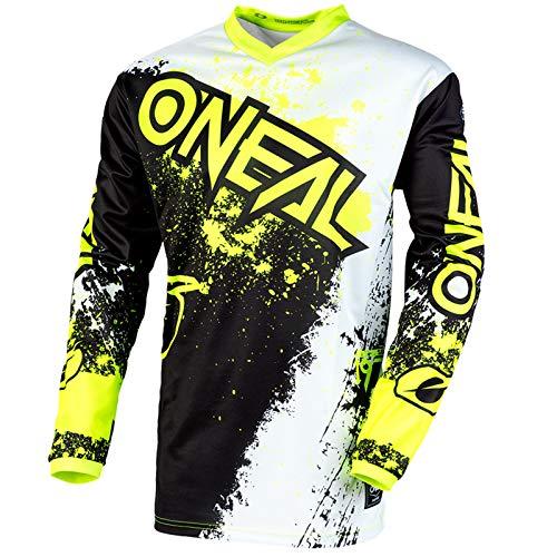 O'Neal Element Impact Jersey Moto Cross MTB MX Mountain Bike Trikot Langarm Shirt Leicht Offroad, E001, Farbe Schwarz Neongelb, Größe M