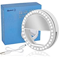 LST Selfie Light Rechargeable [38 LED] Dimmable Clip Ring Lights Fill-in Lighting Portable for Phone, Tablet, iPad, Laptop, Camera