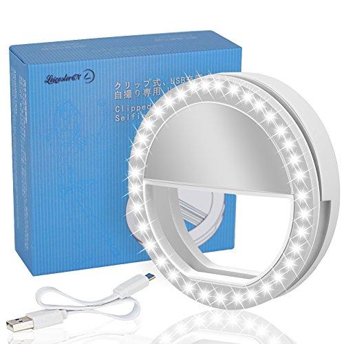Lst-selfie-luce-ricaricabile-38-LED-dimmerabile-clip-anello-luci-riempimento-illuminazione-portatile-per-cellulare-tablet-iPad-laptop-fotocamera-bianco