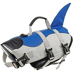 Paws Paradise Chalecos de salvavidas para perros, buena flotación, ropa cosplay tiburón, ajustable y de fácil colocación, mejorar la práctica de natación de perros, con asa de rescate