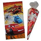 Unbekannt Badetuch - als 70 cm Schultüte verpackt -  Disney Cars  - 80 cm * 150 cm Handtuch Auto Zuckertüte für Schulanfang - Strandtuch / Auto - für Kinder Jungen