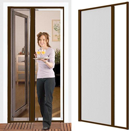 Proheim Moustiquaire pour porte avec cadre en aluminium Réglable Brun Montage sans perçage 125x 220cm