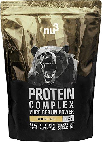 nu3 Protein Complex | Vanille Geschmack | 1kg Proteinpulver | Whey, Milch, Ei Mehrkomponenten 3K Protein | Gute Löslichkeit bei über 5,3 g BCAAs pro Portion | Kraftsport optimiert