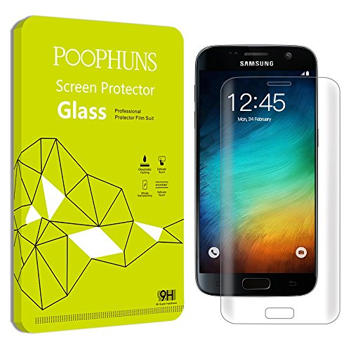 Samsung Galaxy S7 Screen Protector, POOPHUNS Tempered Glass Screen Protector Samsung Galaxy S7, 9H Hardness, One-push installation, Bubble free