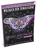 Malbuch für Erwachsene: Grazile Nachtfalter (A4 Nacht Edition, 40+ Ausmalbilder, Ideal für Neon & Glitzerstifte, Kleestern®)