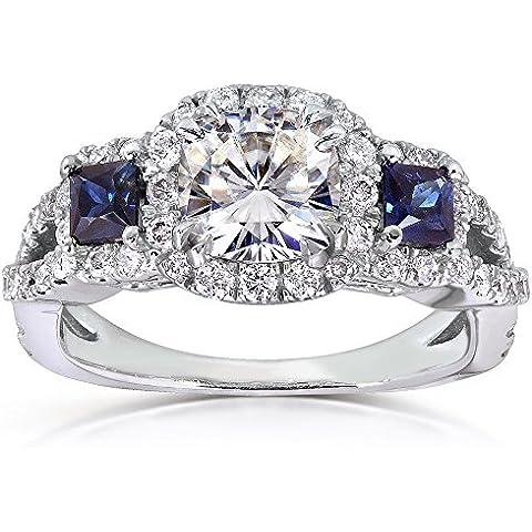 Forever Brilliant Moissanite, con diamante e zaffiro 2 kt (ctw)-Anello di fidanzamento in oro bianco 14 k - Moissanite Diamante Zaffiro