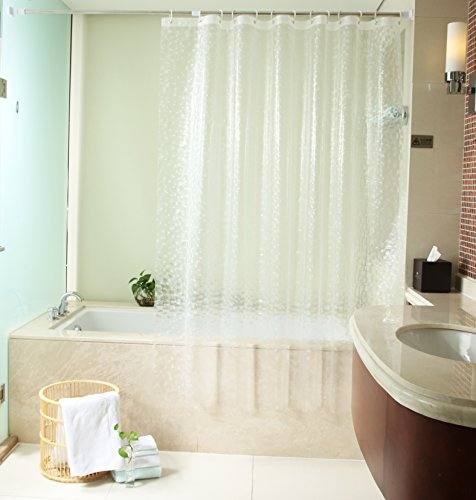 LikeYou 100 Eco Friendly EVA Shower Curtain 3D Cube 78 X 86 Long Bath Liner Waterproof And Mildews Free With Holes Clear