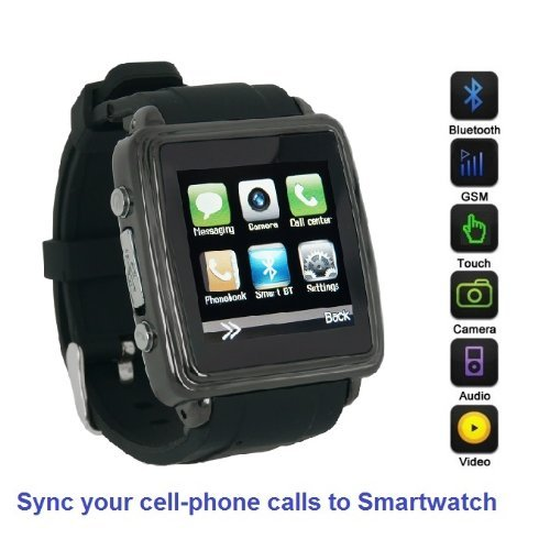SmartWatch (Black Case & Black Strap) : Smartwatch (Sync calls to iPhones,Android Phones,Bluetooth Phones).Quad-Band GSM Bluetooth Cell Phone,Music&Video Multimedia Player,FM radio,Camera.(Includes 8GB Flash,& Micro/Nano-to-Mini SIM Card Adapters)