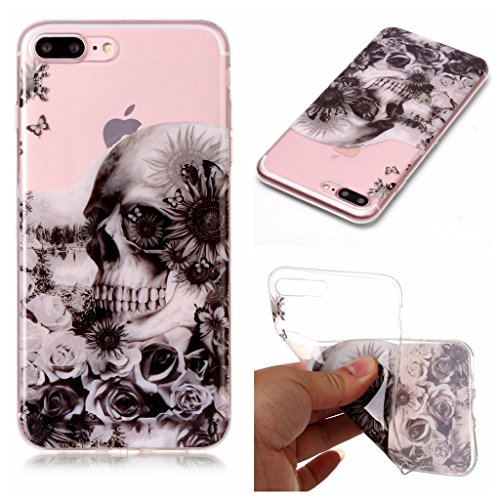 Per iPhone 8 Plus / iPhone 7 Plus Cover , YIGA nero fiore Cristallo Trasparente Silicone Morbido TPU Case Shell Caso Protezione Custodia per Apple iPhone 8 Plus / iPhone 7 Plus (5,5 pollici) XS71
