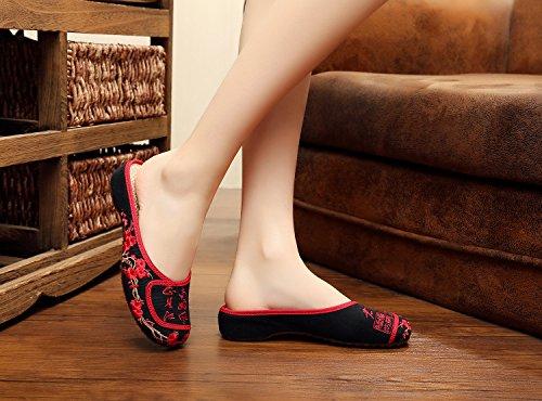 &hua Gestickte Schuhe, Sehnensohle, ethnischer Stil, weiblicher Flip Flop, Mode, bequem, Sandalen Black