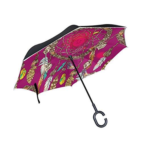jstel doble capa puede Boho Estilo de Atrapasueños paraguas coches Reverse resistente al viento lluvia paraguas para coche al aire libre con asa en forma de C