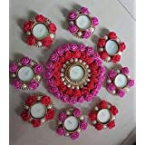 Anaya Studio Artificial Flower Rose With Pearls Diya Tlite Rangoli Floating / Non Floating Candles For Festival Decoration (Set Of 9 Candle Holder With 9 Tlites Candles- Centre Big 6 Inch-1 Piece, Small-3 Inch-8 Pieces)(Red And Pink) (Metal/Acrylic)